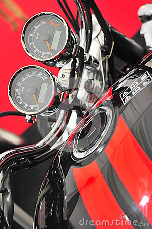 Motorcycle revs an mileage gages