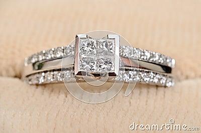 Closeup Diamond Engagement Ring