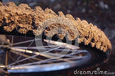 Closeup of a dirty mountainbike tire