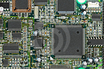 Closeup of electronic circuit board PCB with CPU