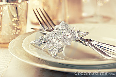 Closeup of elegant christmas table setting