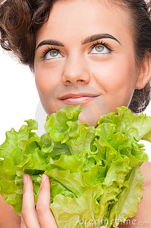 Closeup emotional beauty woman with green lettuce