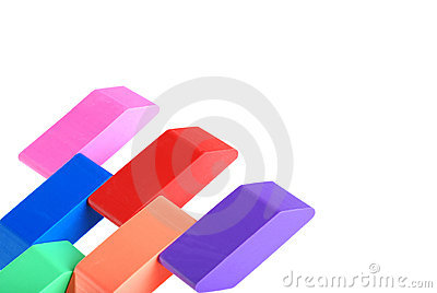 Closeup of erasers