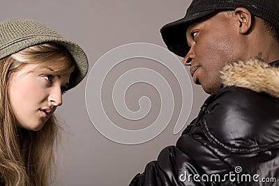 Closeup of expressive couples