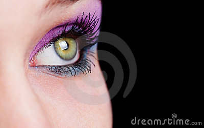 Closeup on eye with beautiful makeup