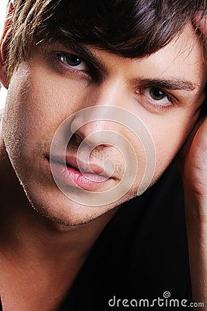 Closeup face of a confident handsome  man
