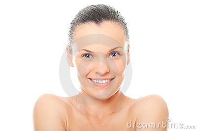 Closeup face woman with healthy clean skin