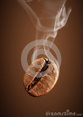Free Closeup Falling Coffee Bean With Smoke On Brown Background Stock Images - 87736324