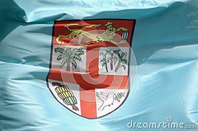 Closeup of the Fijian flag