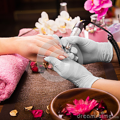 Free Closeup Finger Nail Care By Manicure Specialist In Beauty Salon. Stock Images - 67808114