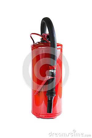 Closeup fire extinguisher isolated on white background