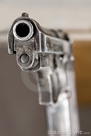 Closeup of firearm