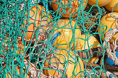 Closeup of fishing nets and floats