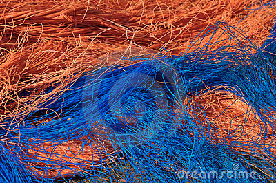 Closeup of fishing nets and wires