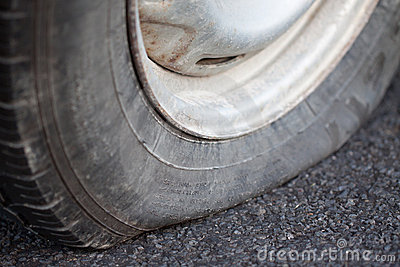 Closeup of a flat tire