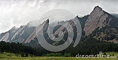Closeup of Flatiron mountains in Boulder, Colorado