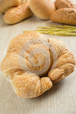 Closeup of fresh croissant with breads