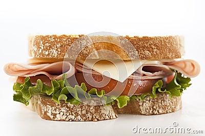 Closeup fresh ham and cheese sandwich