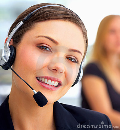 Closeup Of A Friendly Secretary/telephone Operator