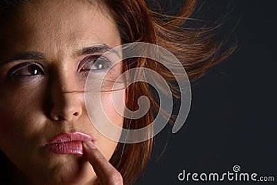 Closeup of girl thinking