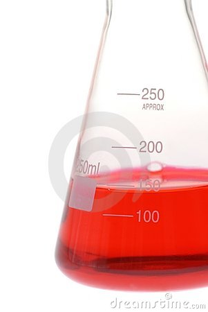 Closeup of glass conical flask with red liquid