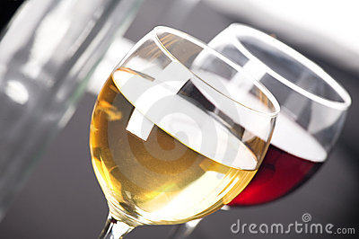 Closeup on glasses of wine