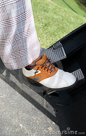 Closeup golf player foot