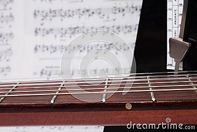 Closeup Guitar Neck, Notes and Metronome