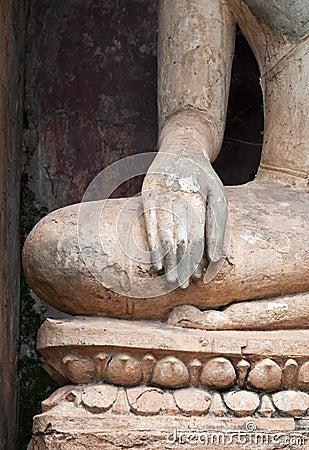 Closeup of hand  buddha statue .