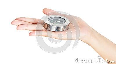 Closeup hand and compass