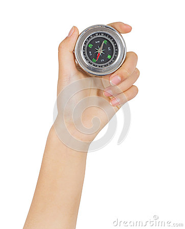 Closeup hand and compass
