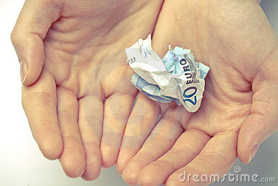 Closeup of hands holding money