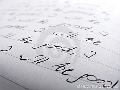Closeup of handwritten text