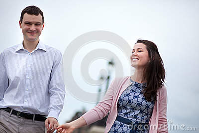 Closeup of happy dating couple