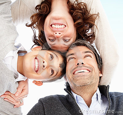 Closeup of happy mature parents with son