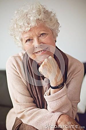 Closeup of a Happy Senior Woman at Home