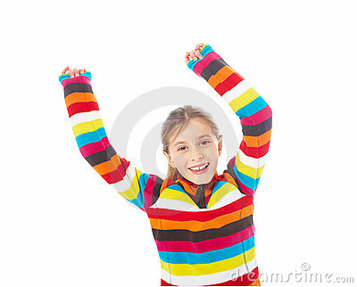Closeup of happy young girl with hands raised