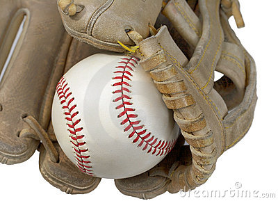 Closeup of Hardball in Baseball Glove