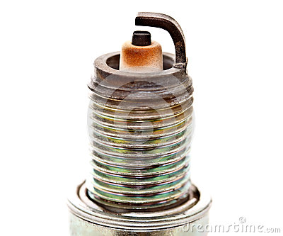 Closeup head of used spark plug