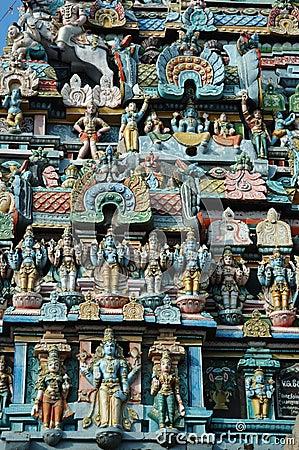 Closeup of Hindu Srirangam Temple in Trichy,India