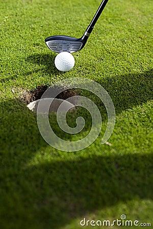Closeup of hole on golf