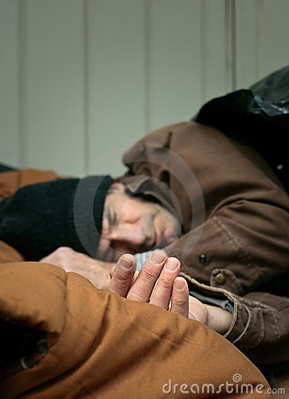 Closeup Of Homeless Man Sleeping Royalty Free Stock Images - Image: 12555239