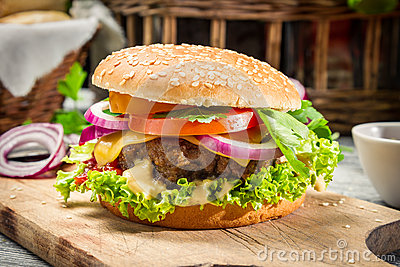 Closeup of homemade burger made ​​from fresh vegetables