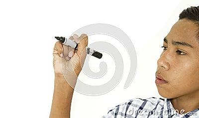 Closeup of a human hand writing
