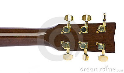 Closeup image of classical gold guitar tuners
