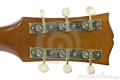 Closeup image of classical guitar tuners