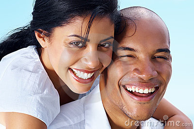 Closeup image of a happy romantic young couple