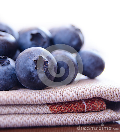 Closeup Image of Blueberries on the Fabric Serviette
