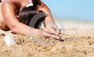 Closeup image  woman in relaxation yoga pose