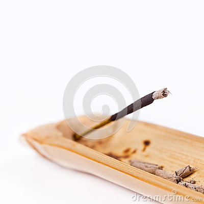 Closeup of incense stick burning
